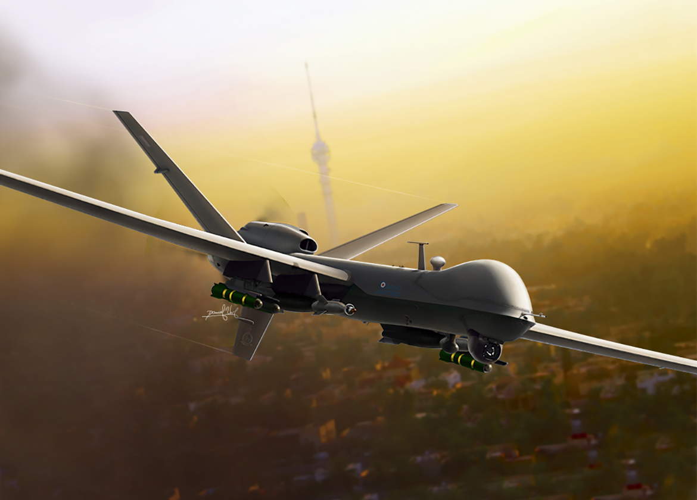 General Atomics MQ-9 Reaper, combat drone at Baghdad. Aviation Art Artist, Aviation Art illustrator, Aviation Art,